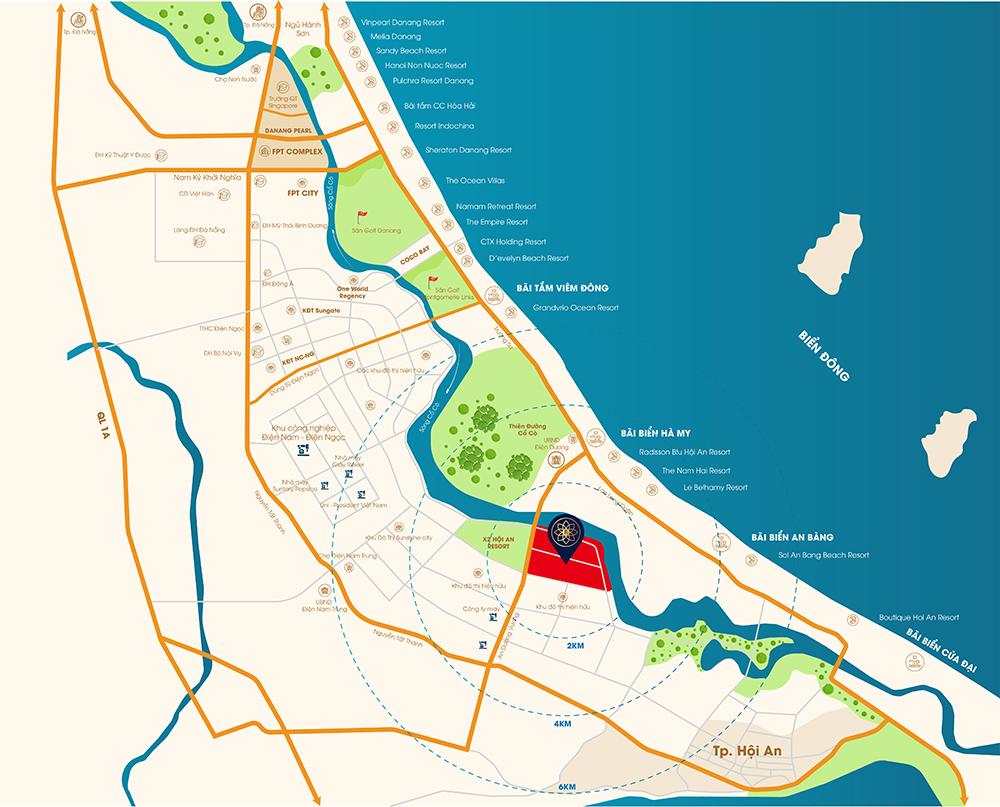 Vị trí dự án Rosa Riverside Complex Quảng Nam